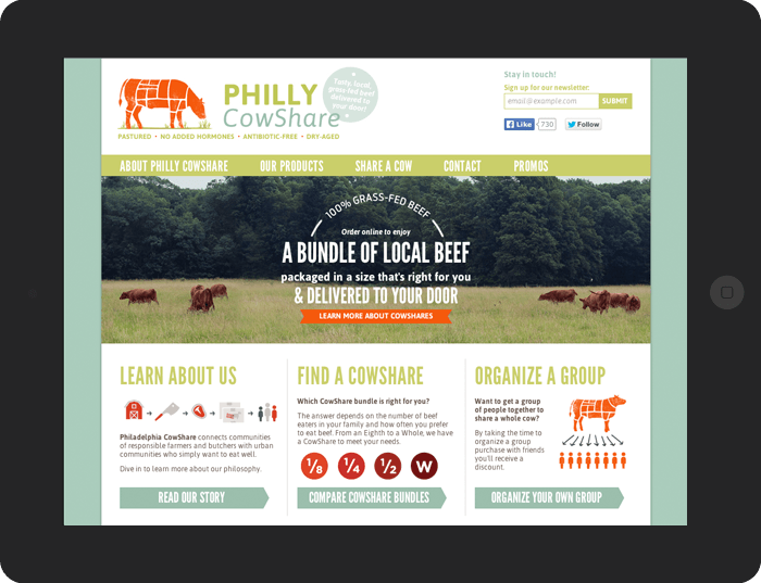 screenshot of Philly CowShare's website