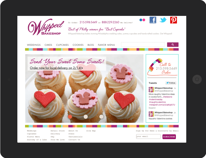 screenshot of Whipped Bakeshop's website